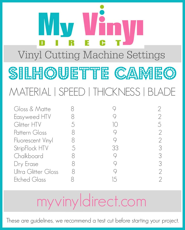 Vinyl Cutter Settings